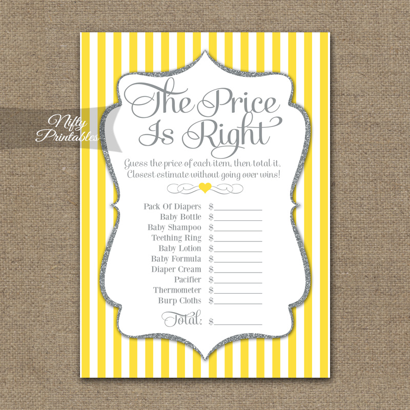 Price Is Right Baby Shower Game - Yellow Gray Silver