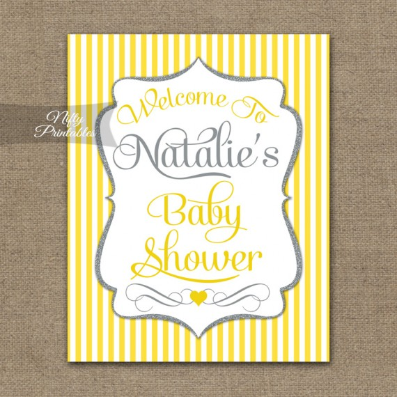 Baby Shower Welcome Sign - Yellow Gray Silver