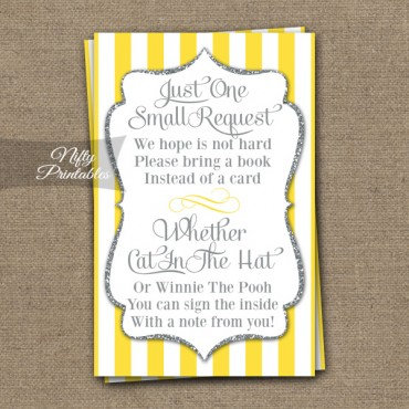 Bring A Book Baby Shower Insert - Yellow Gray Silver
