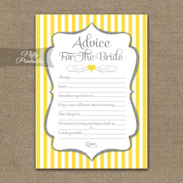 Bridal Shower Advice Cards - Yellow Gray Silver