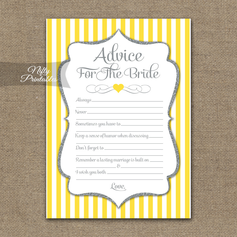 Bridal Shower Advice Cards Yellow Gray Silver