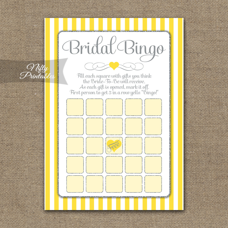 Bridal Shower Bingo Game - Yellow Gray Silver