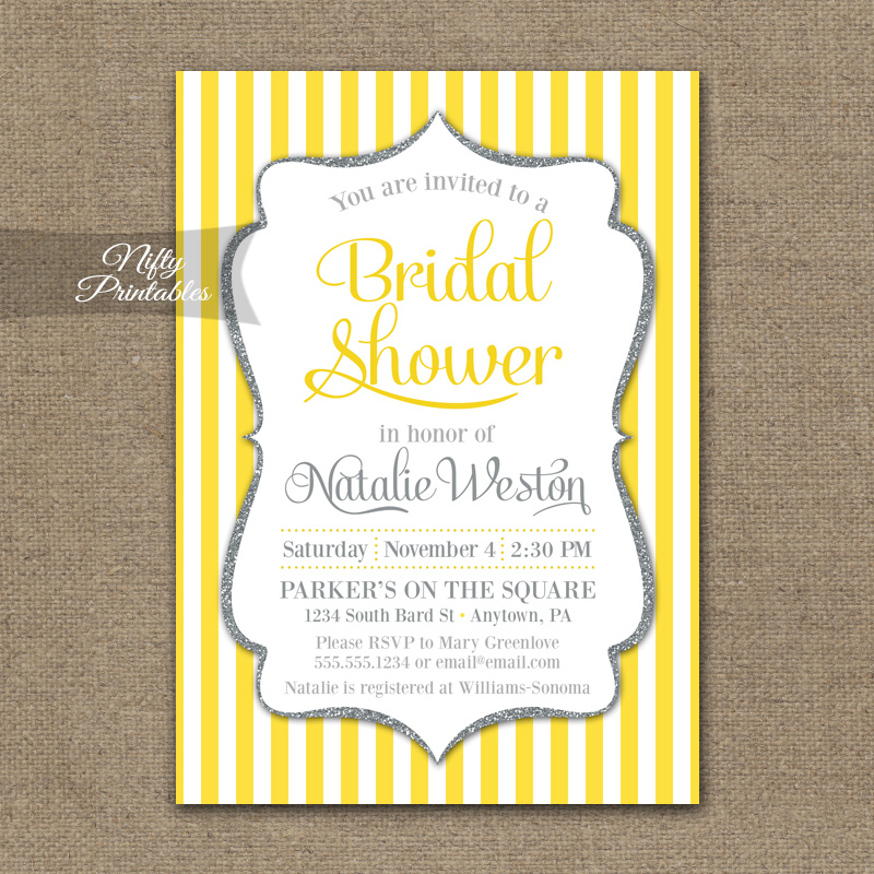 Yellow Gray Silver Bridal Shower Invitation