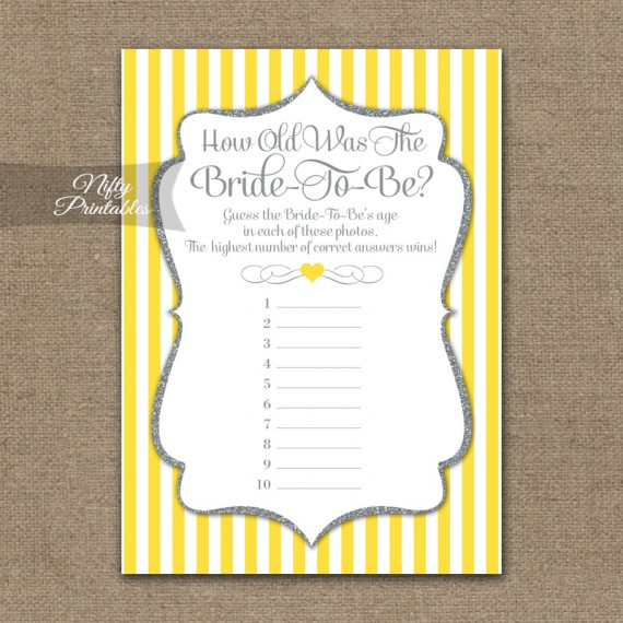 How Old Is The Bride Shower Game - Yellow Gray Silver