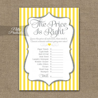 Price Is Right Bridal Shower Game - Yellow Gray Silver