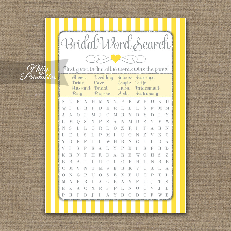Bridal Shower Word Search Game - Yellow Gray Silver