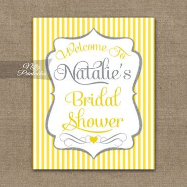 Bridal Shower Welcome Sign - Yellow Gray Silver