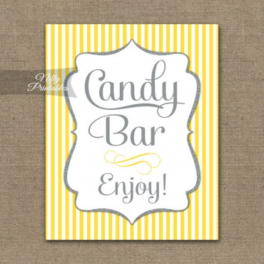 Candy Buffet Sign - Yellow Gray Silver