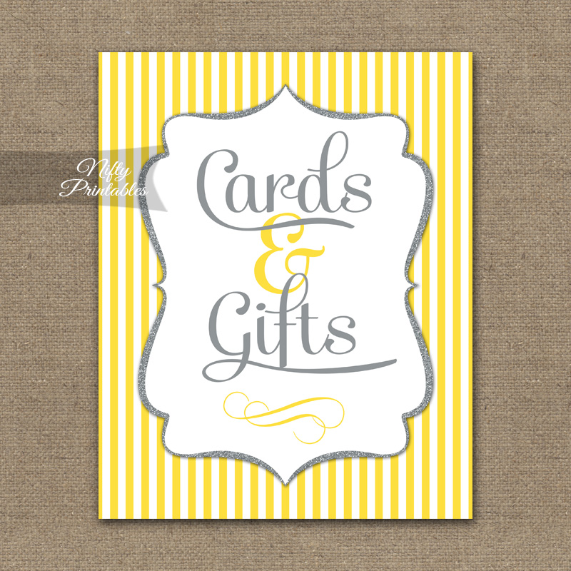 Cards & Gifts Sign - Yellow Gray Silver