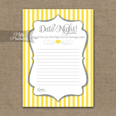 Bridal Shower Date Night Ideas - Yellow Gray Silver