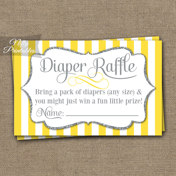 Diaper Raffle Baby Shower - Yellow Gray Silver