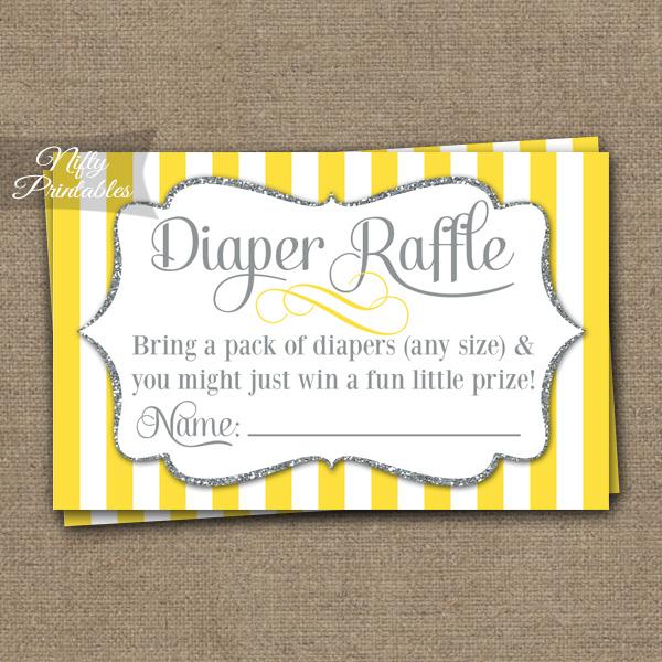 Diaper Raffle Baby Shower - Yellow Gray Silver
