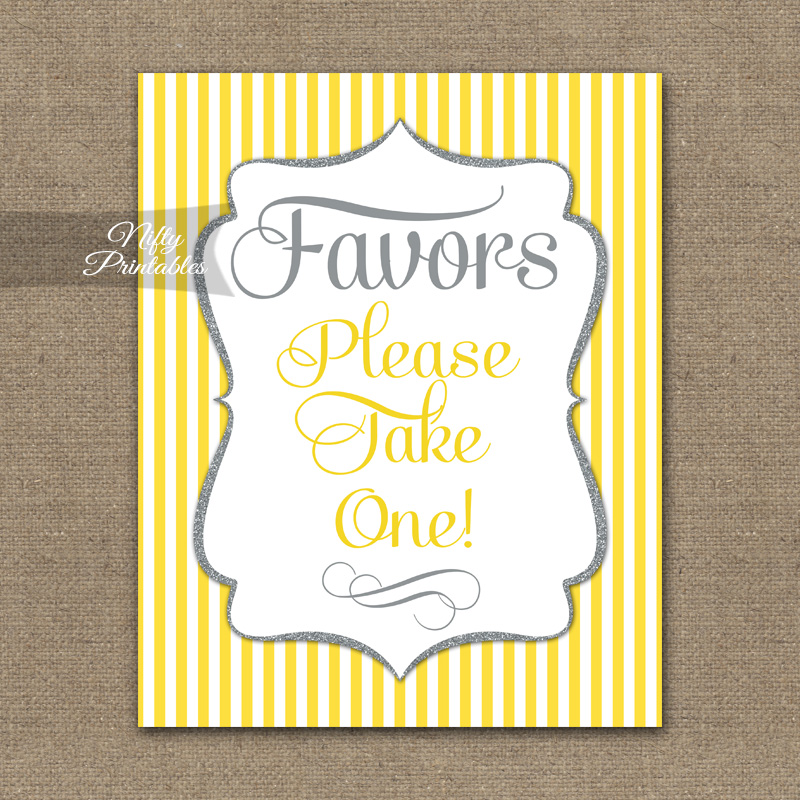 Favors Sign - Yellow Gray Silver