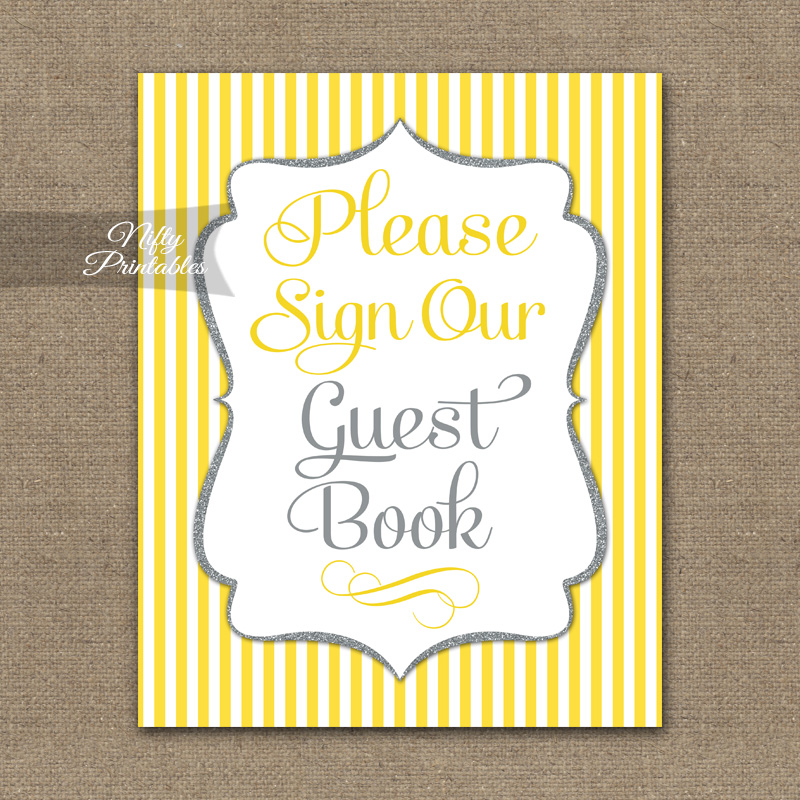 Guest Book Sign - Yellow Gray Silver