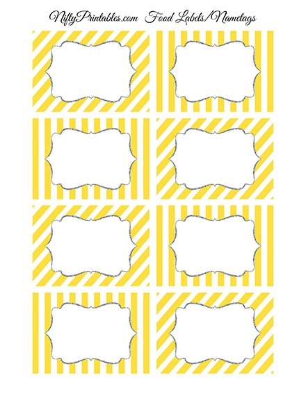 Food Labels Nametags Yellow Gray Silver Nifty Printables