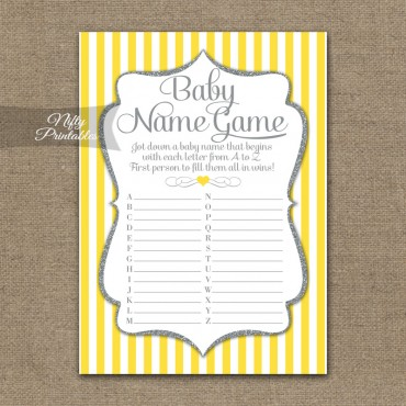 Name Game Baby Shower - Yellow Gray Silver