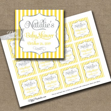 Yellow Gray Silver Personalized Favor Tags