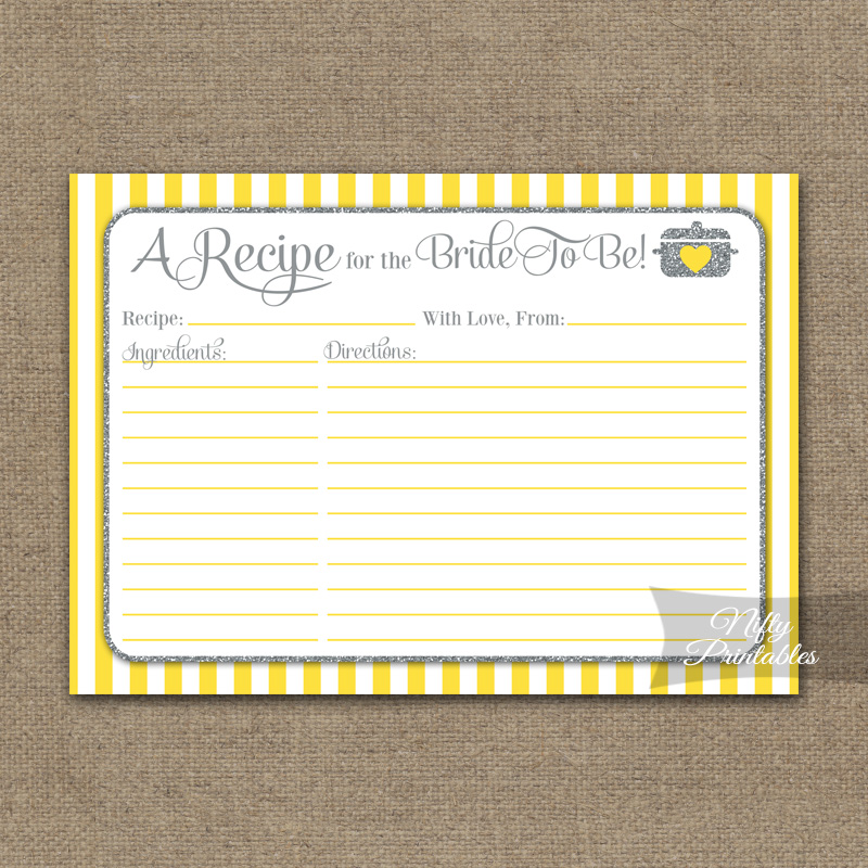 Bridal Shower Recipe Cards - Yellow Gray Silver