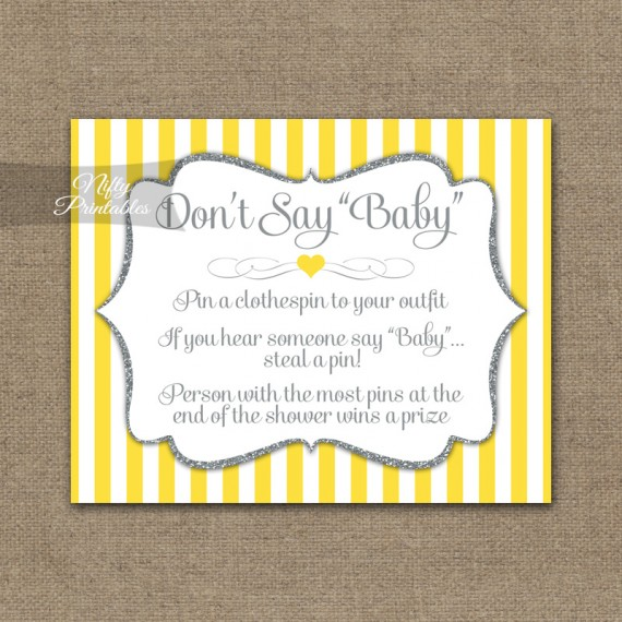 Don't Say Baby Shower Game - Yellow Gray Silver