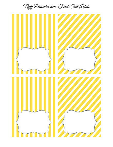 Tent Cards - Place Cards - Buffet Cards - Yellow Gray Silver