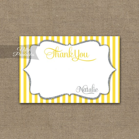 Yellow Gray Silver Baby Shower Invitation
