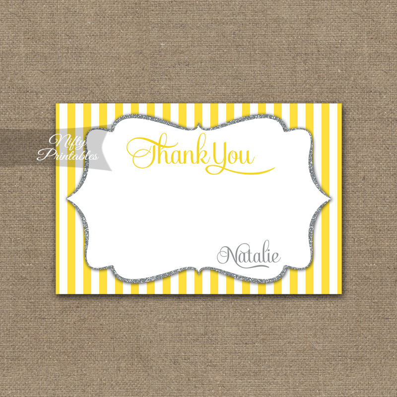 Yellow Gray Silver Baby Shower Invitation