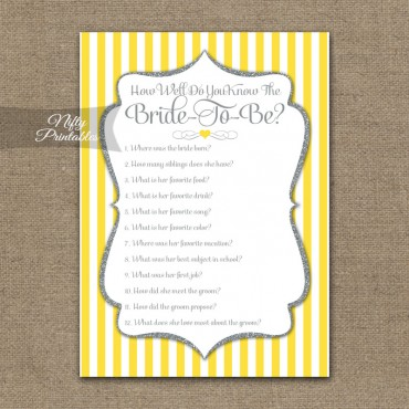 How Well Do You Know The Bride - Yellow Gray Silver