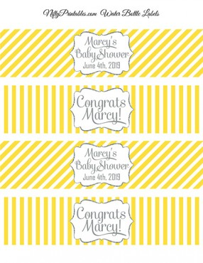 Water Bottle Labels - Yellow Gray Silver