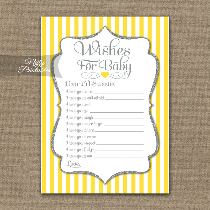 Wishes For Baby Shower Game - Yellow Gray Silver