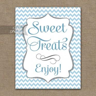Sweet Treats Dessert Sign - Blue Chevron