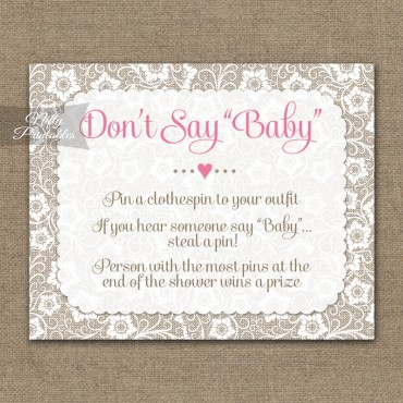 Don't Say Baby Shower Game - White Lace