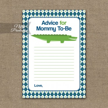 Advice For Mommy Baby Shower Game - Alligator