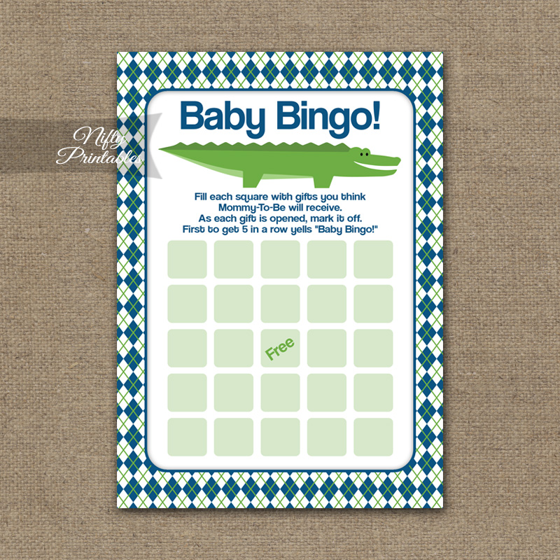 Baby Shower Bingo Game - Alligator