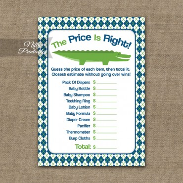 Price Is Right Baby Shower Game - Alligator