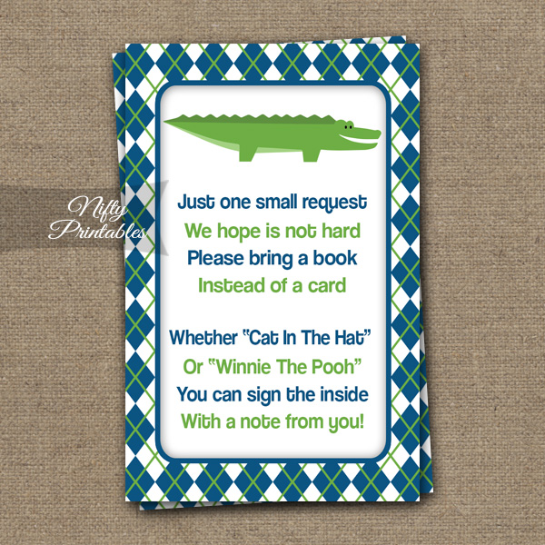 Bring A Book Baby Shower Insert - Alligator