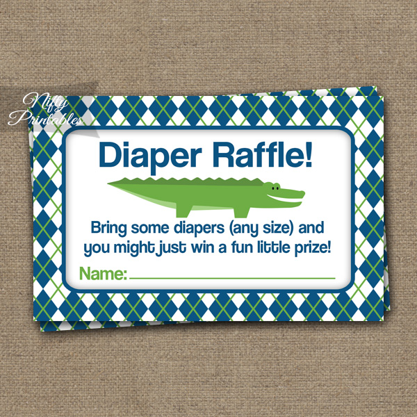 Diaper Raffle Baby Shower - Alligator