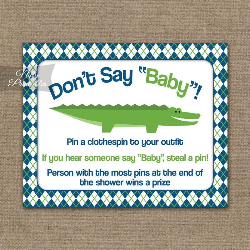 Don't Say Baby Shower Game - Alligator