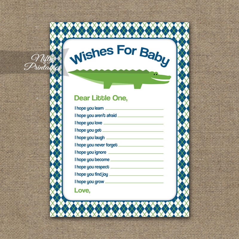 Wishes For Baby Shower Game - Alligator