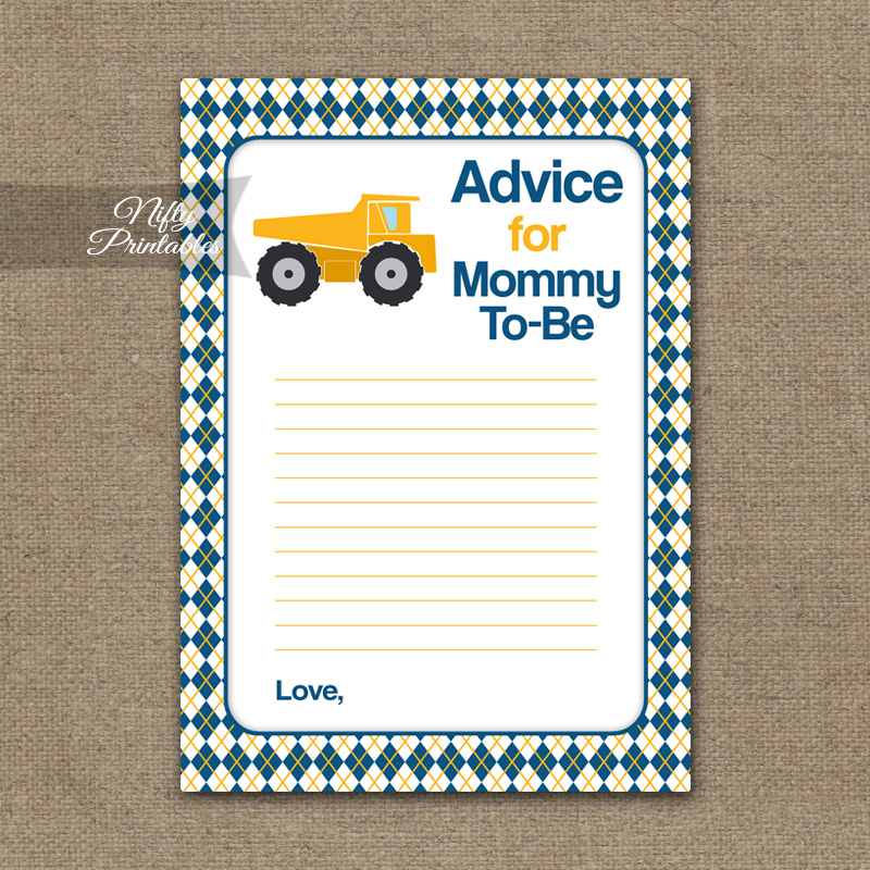 Advice For Mommy Baby Shower Game - Construction