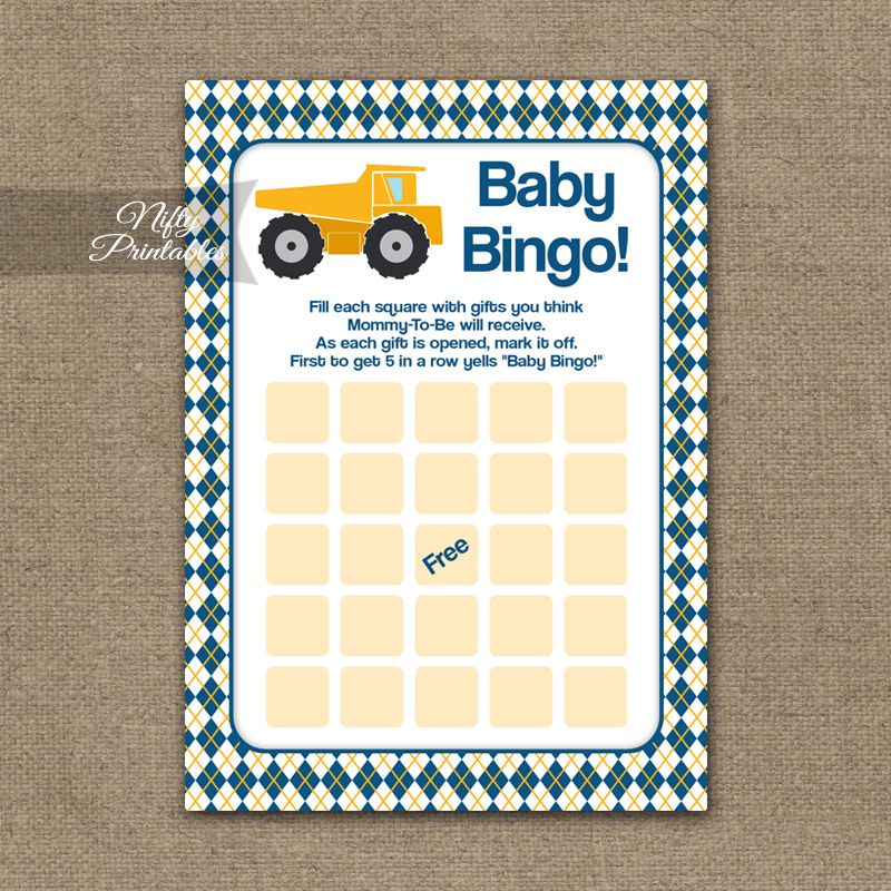 Baby Shower Bingo Game - Construction