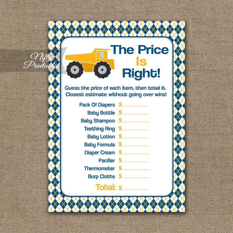 Price Is Right Baby Shower Game - Construction
