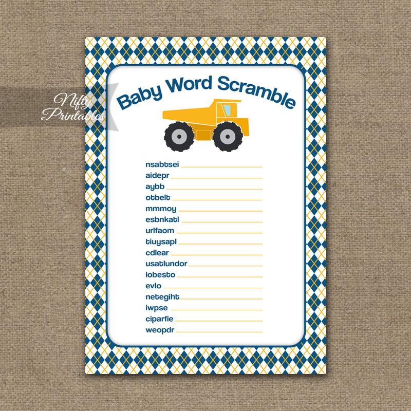 Baby Shower Word Scramble Game - Construction