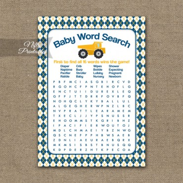 Baby Shower Word Search Game - Construction