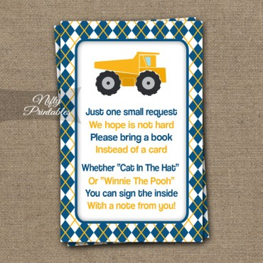Bring A Book Baby Shower Insert - Construction