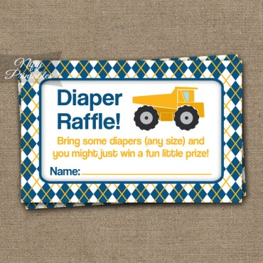 Diaper Raffle Baby Shower - Construction