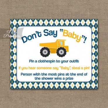 Don't Say Baby Shower Game - Construction