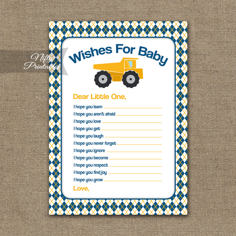 Wishes For Baby Shower Game - Construction
