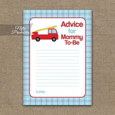 Advice For Mommy Baby Shower Game - Fire Truck