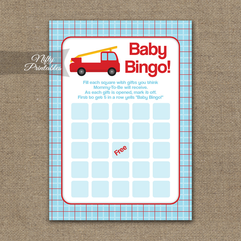 Baby Shower Bingo Game - Fire Truck
