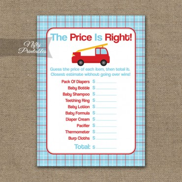 Price Is Right Baby Shower Game - Fire Truck